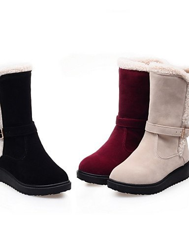 ShangYi Mode Frauen Schuhe Schuhe Damen Fleece Keilabsatz Wedges/Mode Schuhe/Stiefel Runder/Casual Kleid Schwarz/Rot Schwarz/Beige Rot