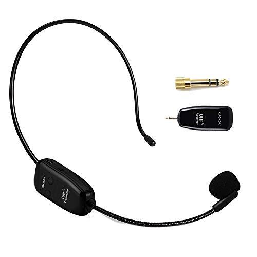 XIAOKOA UHF wireless microfono, trasmissione wireless stabile 50 m, auricolare e palmare 2 in 1, per amplificatore vocale, registrazione videocamera, altoparlante