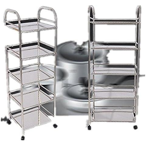Cocina estanterías bastidores baño, horno de acero inoxidable suelo del balcón bastidores plato estante de los estantes de almacenamiento Almacenamiento , stainless steel 3 layer