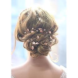 Gracewedding - diadema de pelo largo para novia - color oro rosa - estilo vintage - diadema de cristal - accesorio para boda