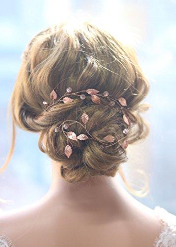 Gracewedding Brautschmuck / Haarschmuck für die Hochzeit, Rotgold, geeignet für lange Haare, Design: Kletterpflanzen im Vintage-Stil, Kristall-Haar-Zubehör 38 CM