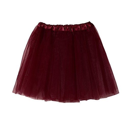 KPILP Damen Tüllrock 50er Rockabilly Petticoat Tutu Unterrock Kurz Ballett Tanzkleid Ballkleid Abendkleid Gelegenheit Zubehör Cocktailkleide(Weinrot,EU28-54/CN-M) (Rockabilly Happy Halloween)