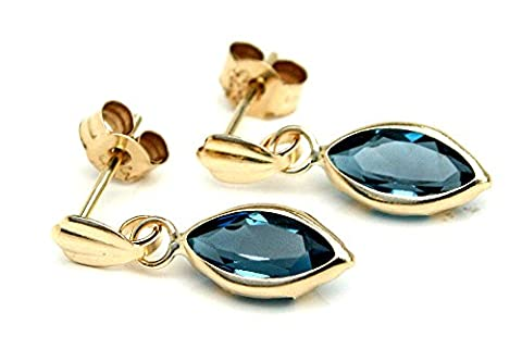 9ct Gold London Blue Topaz Marquise Drop