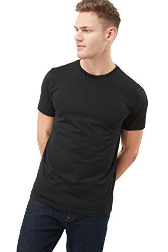 next Herren T-Shirt mit Rundhalsausschnitt– Slim Fit Schwarz XS (Henley Shirt Top Flanell)