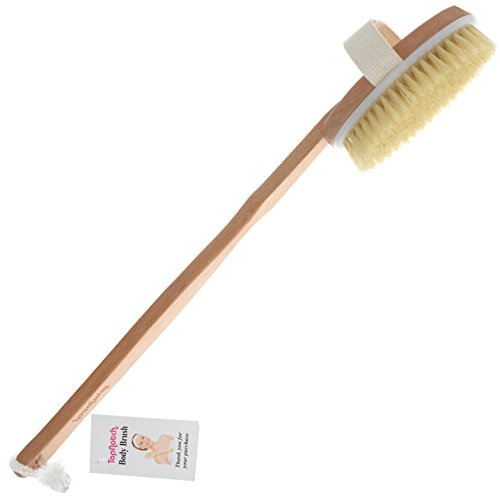 TopNotch® Premium Körperbürste Naturborsten Trocken Massagebürste Dusch. Badebürste. Duschhandschuh Reisetasche Bürste Mit Holzkorpus Und Langem Griff Rückenschrubber
