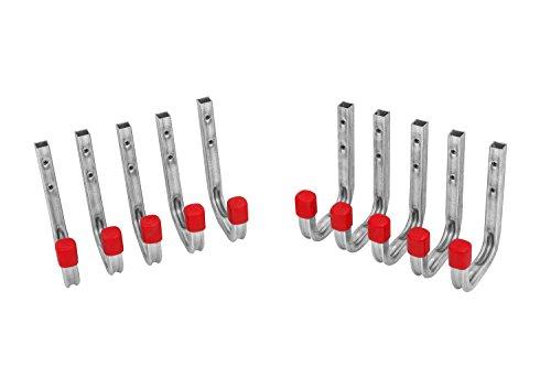 Gedotec Wandhaken Werkzeug Gerätehalter Werkstatt & Garage zum anschrauben | Schwerlast-Metallhaken 115 x 140 mm | Tragkraft 30 kg | 10 Stück - Montagehaken-Set