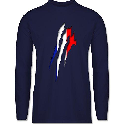 Shirtracer Länder - Frankreich Krallenspuren - Herren Langarmshirt Navy Blau