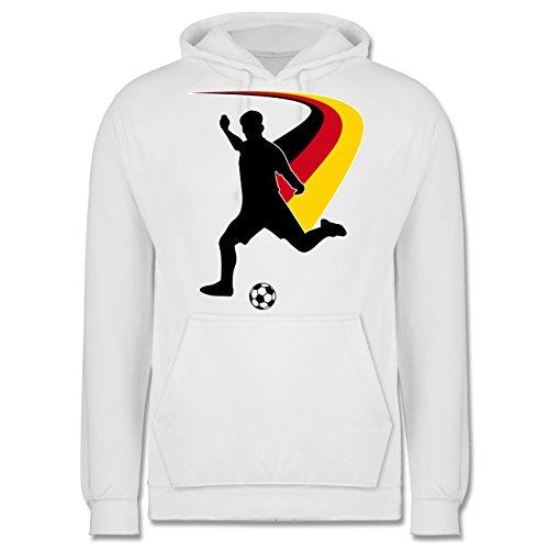 EM 2016 - Frankreich - Fußballspieler + Deutsche Flagge - Männer Premium Kapuzenpullover / Hoodie Weiß
