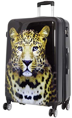 Trendyshop365 Hartschale Reisekoffer mit Foto Bedruckt - Leopard Wildlife - 78 Zentimeter 107 Liter 4 Zwillingsrollen Tiermotiv -