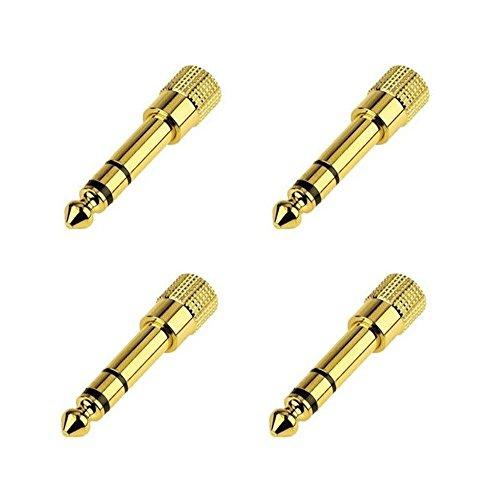 Youji® 6.5mm bis 3.5mm Audio Adapter 6.5 to 3.5 Audio Jack, Stecker Stecker auf Buchse Konverter für Mikrofon Gitarre und Recording Equipment (4pack)