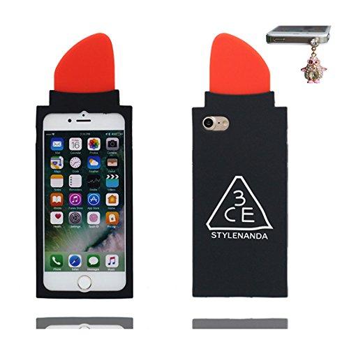 iPhone 7 Plus Custodia, morbida guarnizione TPU in gomma antigraffio protettiva Case copertura per iPhone 7 Plus 5.5 Cover + tappi antipolvere / Cartoon Progettato 3D rossetto Sexy Nero