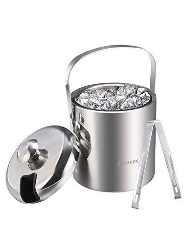 Homdox Eiseimer -Eisbehältersektkühler Champagnerkühler Edelstahl Doppelwandiger Flaschenkühler inkl. Zange und Deckel, 1,2 Liter