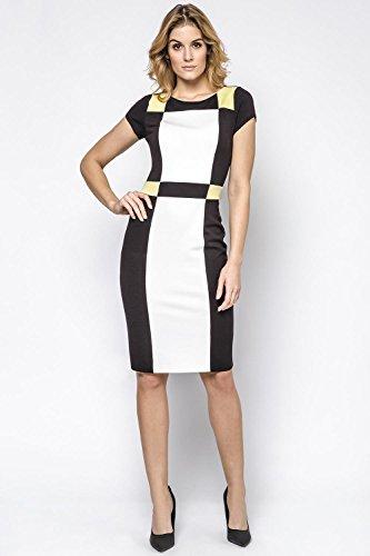 Ennywear 230145 Robe Feminine Top Qualité Business Look Bariolé Manches Courtes Au Genou- Fabriqué En UE noir-écru