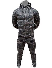 a4e3730b Fatal Fashion Men's Army Camouflage Design Camo Tracksuit Hoodie Zipper  Joggers 2 Piece Multi Camo Suit