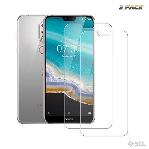 SCL Nokia 7.1 Schutzfolie, Nokia 7.1 panzerglas Gehärtetes Glas BildschirmSchutz für, Nokia 7.1 (5.6 Zoll) (2-Pack), 2.24D Abger&ete Ecken Glasfilm, Anti-Fingerabdruck, Blasenfrei