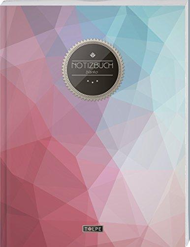 "TULPE Blanko Notizbuch A4 ""C064 Pastell Polygon"" (140+ Seiten, Vintage Softcover, Seitenzahlen,..."