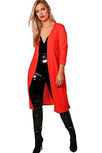 rouge Femmes Plus Olivia Cardigan côtelé surdimensionné Rouge