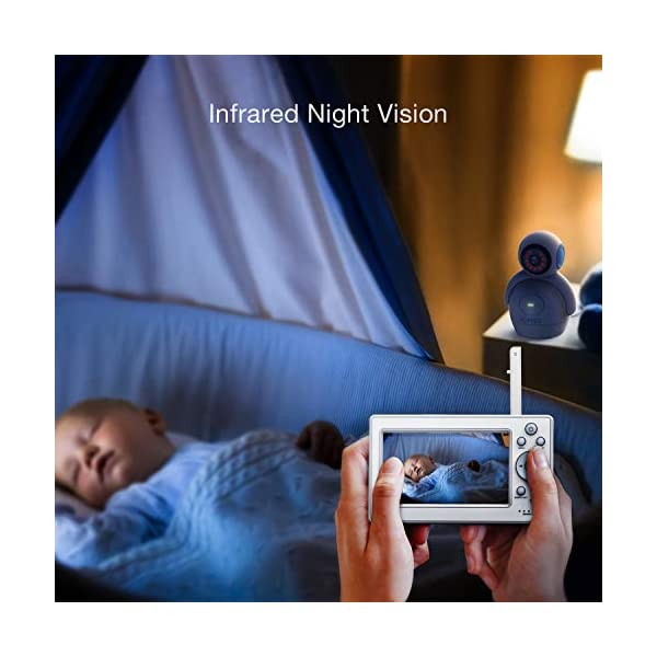 HOMIEE 720P Digital Robot Appearance Camera Exclusive for HOMIEE Baby Monitor, Sound & Temperature Alert, Two Way Audio and Baby Lullabies, Night Vision with 1000ft Range (Additional Camera) HOMIEE 【Pair with up to 4 Cameras】 Up to 4 cameras can be hooked up to HOMIEE baby monitor for more babies, each camera will loop for 10 seconds. Additional camera only works with HOMIEE BM1002 Baby Monitor. 【360-Degree Omnidirectional Coverage】The robot can be wireless controlled to rotate about 360 degree horizontally, to bow and lie down between 105 degree at most. HOMIEE video baby monitor also supports zoom for closer views on screen 【2.4GHz Wireless Connection Technology】No need to connect WIFI, needless of 3G/4G mobile data traffic, the 2.4GHz wireless technology provides 100% digital privacy and security, with range up to 1000ft in open space. Night vision is also supported 4
