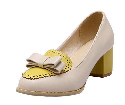 VogueZone009 Femme Couleurs Mélangées à Talon Correct Tire Chaussures Légeres Jaune