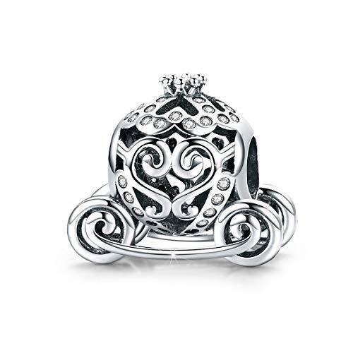 Charm a forma di zucca, in argento Sterling 925, con corona da principessa, con ciondolo a forma di zucca