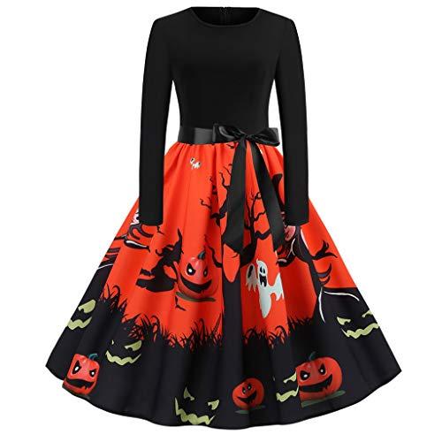 iLPM5 Halloween Damen Kleid Retro Vintage Abendkleid Hepburn Partykleid Lange Ärmel Frauen Spitzenkleid Kürbis Dekoration Cosplay Kleider Ballkleid Cocktailkleider A-Linien Kleid(Orange,L)