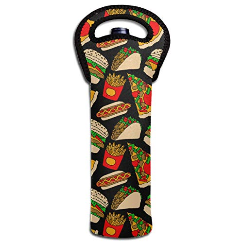 Fast Food Pizza Burger Hotdog French Fries Tacos Wine Bottle Tote Bag Carrier Bag with Handle - Friesen Tote