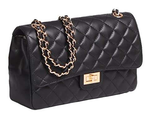Italian Leather Quilted Designer Inspired Handbag with Gold Trims (Black)