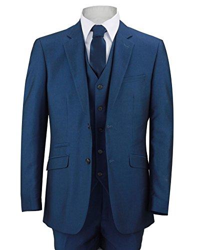 Herren Anzug Royal Blau 3-teiliges Arbeit Hochzeit Ball Party Blazer Weste Hosen Gr. 58, navy - Leder-drei-knopf-blazer