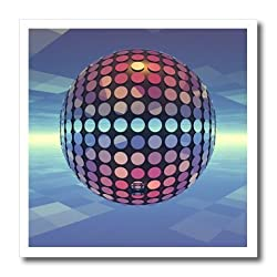 3dRose Mirror Ball Reflecting Mirror Disco Ball Dances in The Atmosphere Above Earth, Iron On Heat Transfer, 6 by 6-inch, for White Material