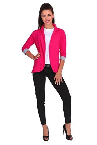 futuro fashion Eleganz Damen Jacke Blazer Stil mit Taschen 3/4 Ärmel 2501 - Hot Pink, EU 44 - XXL