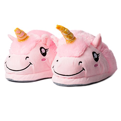 Katara 1775 Einhorn Hausschuhe Rosa Bunte Kuschelige Plüsch Haus-Schuhe für Damen/Erwachsene/Mädchen als Geschenk, Pantoffeln Größe Pink, Einheitsgr. 36-44 (Minions Lila Kostüm)