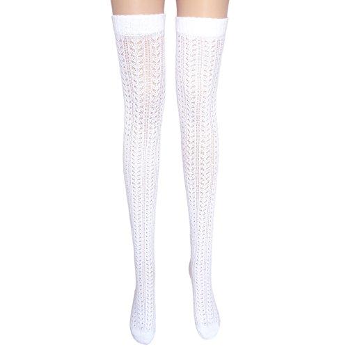 Pointelle blanc des bas de coton de dames cuisse haute (1 paire papillon)
