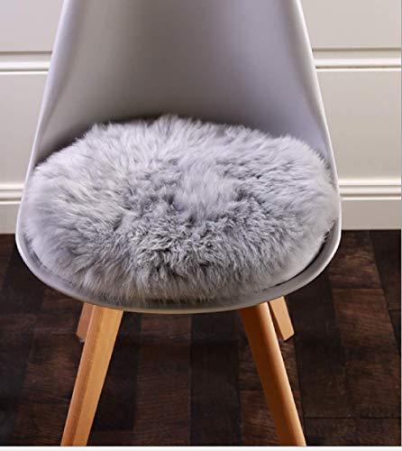 DAOXU Faux Peau de Mouton en Laine Tapis, Imitation Toison Moquette Fluffy Soft Longhair Décoratif Coussin de Chaise Canapé Natte (30 x 30 cm, Gris)