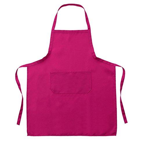 Zarupeng Einfarbig Unisex Kochschürze Catering Arbeit Schürze Tabard mit Twin Double Pocket (One Size, Pink)