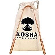 Copper Tongue Scraper | Perfect Surgical Tongue Cleaner | Best remedy for bad breath | Naturally Antimicrobial & Prevents Oral Health Diseases | Flexible handle with comfortable grip | Kosha Ayurveda