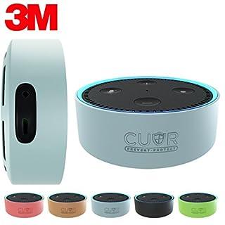 Amazon Echo Dot Hülle von Cuvr | Zubehör Case aus Silikon mit 3M-Wandhalterungs-Klebepad [Ohne Bohren] (Schwarz)