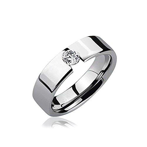 Bling Jewelry Personalisiert. 25 Ct Einfache Spannung Lünette CZ Akzent Verlobungsring Tungsten Ring Für Herren Für Damen 7MM Graviert Spannung Feld