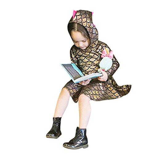 en Party Mädchen Kleid JYMPerformance Kostüm Mode BluseNeugeborenen BabySpielanzug Mädchen Dinosaurier Langarm mit Kapuze Kleid Party Kleider Kleidung (Größe: 12 Monate, Gold) (Kleine Mädchen Dress Up Kleidung)