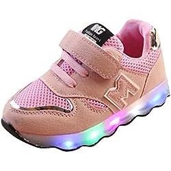 BBestseller Fundas De Cojines,ToddlerZapatos niños Zapatos de bebé Malla LED Luminoso Sneakers Suave Suela Zapatos Zapatillas de Running Niños(eu21-30,Gris) (25, Rosa)