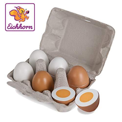 Eichhorn 100003737 - Eierbox mit 6 Eiern, 3x mit Magnetfunktion, 10,5x16x7cm, Kaufladenzubehör, Birkenholz