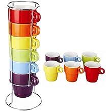 Set di tazze da caffè colorate per la colazione, 6