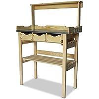 Table de jardinage en bois avec 3tiroirs et étagère en bois, naturel, B78x T38x H82/113cm