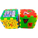 Shop & Shoppee Educational All In One Blocks Set - Multi-Skill: Colors, Counting, ABC, Maths, Clock, Blocks, Puzzle And Much More - Set Of 2