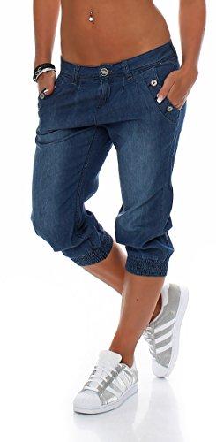 Stitch Denim Kurze (Stitch & Soul Damen Capri Sommerhose Strandhose kurze Hose C 248 (XS))