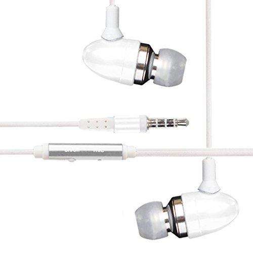 [White] Htc Quattro Kopfhörer, Htc Radar Kopfhörer, Htc Rezound Kopfhörer - Freisprechen Aluminium High Quality Wired Noise Isolation Stereo-Kopfhörer mit eingebautem Mikrofon und On / Off-Taste