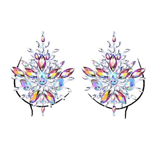 (Halloween Leuchtend Spiegelbohrharz Strass Brustaufkleber,Sisit Gesicht Edelsteine Adhesive Glitter Jewel Tattoo Hochzeitsfest Rave Party Body Make Up (Mehrfarbig F))