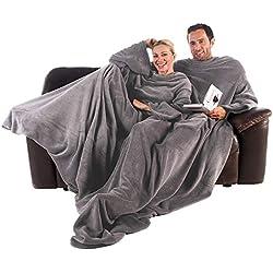CelinaTex TV-Decke Kuscheldecke mit Ärmel und Fuß Tasche, Mikrofaser Decke Coral Fleece, Tagesdecke XL silber grau, 170 x 200 5000018