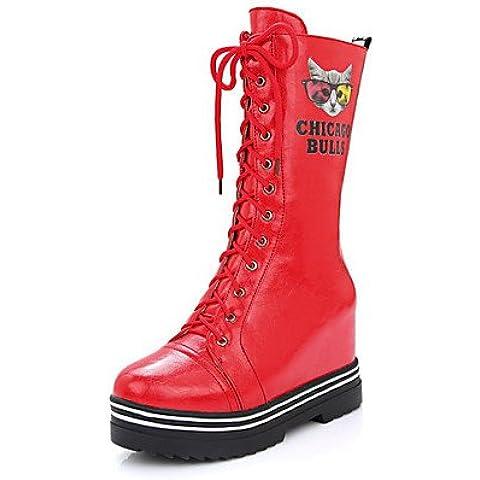 Pu mujer mediados Top Animal-Print Lace Up High Heels botas,Blanca,US6 / UE36 / UK4 / CN36