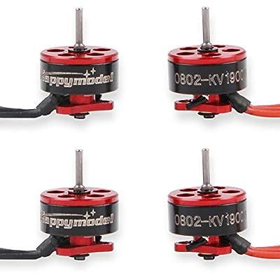 HAPPYMODEL 4pcs 0802 19000KV Brushless Motors 1-2S SE0802 Micro Drone Motor for Micro FPV Racing Drone Like Snapper7 Beta65X