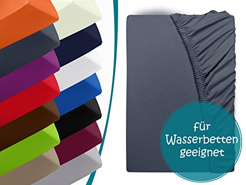 Premium Wasserbett-Spannbetttuch - aus sanforisiertem Baumwoll-Jersey mit 5{41746e1bb805075ffbe5dfb2e753d518de35793f43f03a8f4369742f2377fbb2} Lycra-Anteil - Komfortgröße 180 x 200 cm bis 200 x 220 cm - in 14 attraktiven Farben - auch für Boxspringbetten, anthrazit